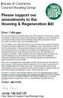 MPs briefing Third Reading Housing Bill